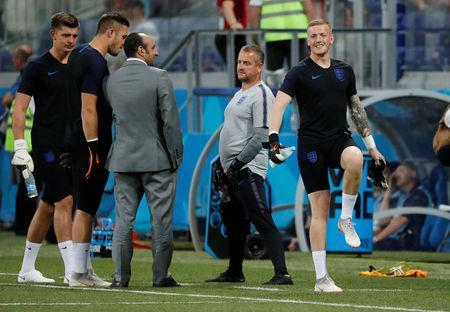 World Cup - Group G - Tunisia vs England - Volgograd Arena, Volgograd, Russia - June 18, 2018 England's Jordan Pickford during the warm up before the match REUTERS/Toru Hanai