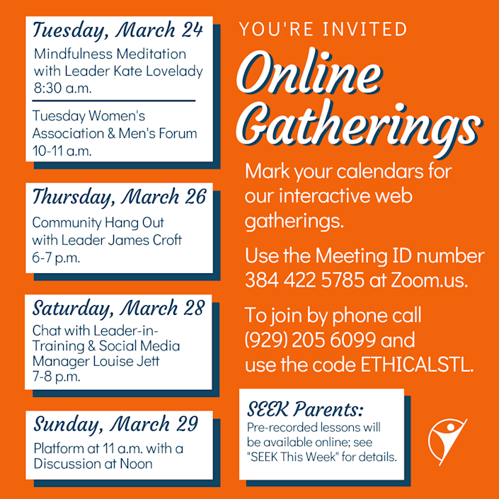 A list of upcoming online gatherings.