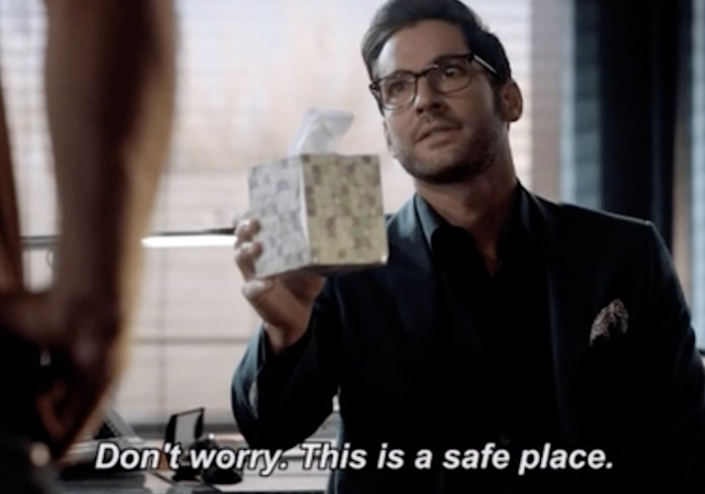 """Tom Ellis in """"Lucifer"""" saying, """"Don't worry; this is a safe place"""""""