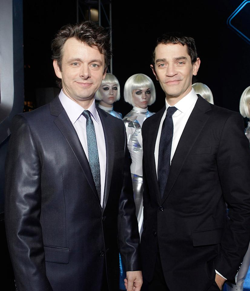 "<a href=""http://movies.yahoo.com/movie/contributor/1802757622"">Michael Sheen</a> and <a href=""http://movies.yahoo.com/movie/contributor/1800022315"">James Frain</a> attend the Los Angeles premiere of <a href=""http://movies.yahoo.com/movie/1810096458/info"">TRON: Legacy</a> on December 11, 2010."