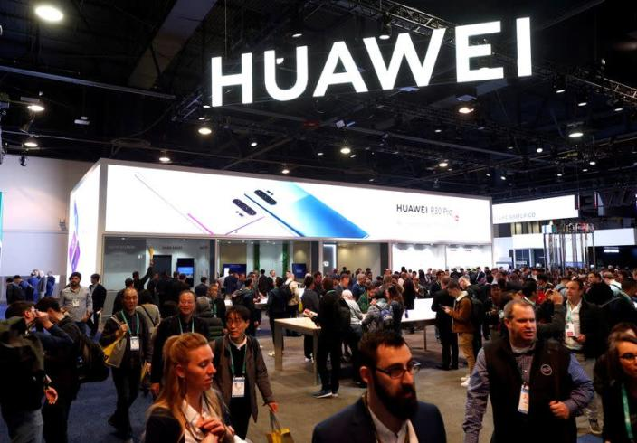 The Huawei booth is shown during the 2020 CES in Las Vegas