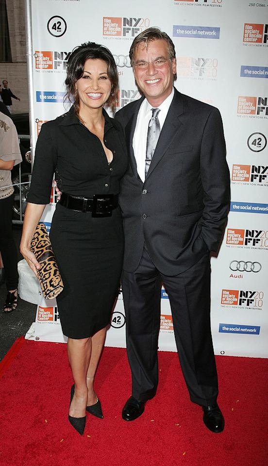 """<a href=""""http://movies.yahoo.com/movie/contributor/1800011452"""">Gina Gershon</a> and <a href=""""http://movies.yahoo.com/movie/contributor/1802760260"""">Aaron Sorkin</a> at the New York City premiere of <a href=""""http://movies.yahoo.com/movie/1810128131/info"""">The Social Network</a> on September 24, 2010."""