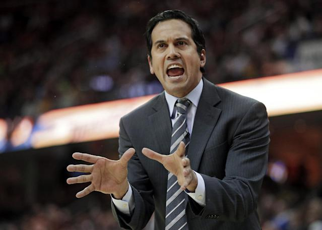 Miami Heat head coach Erik Spoelstra argues a call in the first quarter of an NBA basketball game against the Cleveland Cavaliers Wednesday, Nov. 27, 2013, in Cleveland. (AP Photo/Mark Duncan)