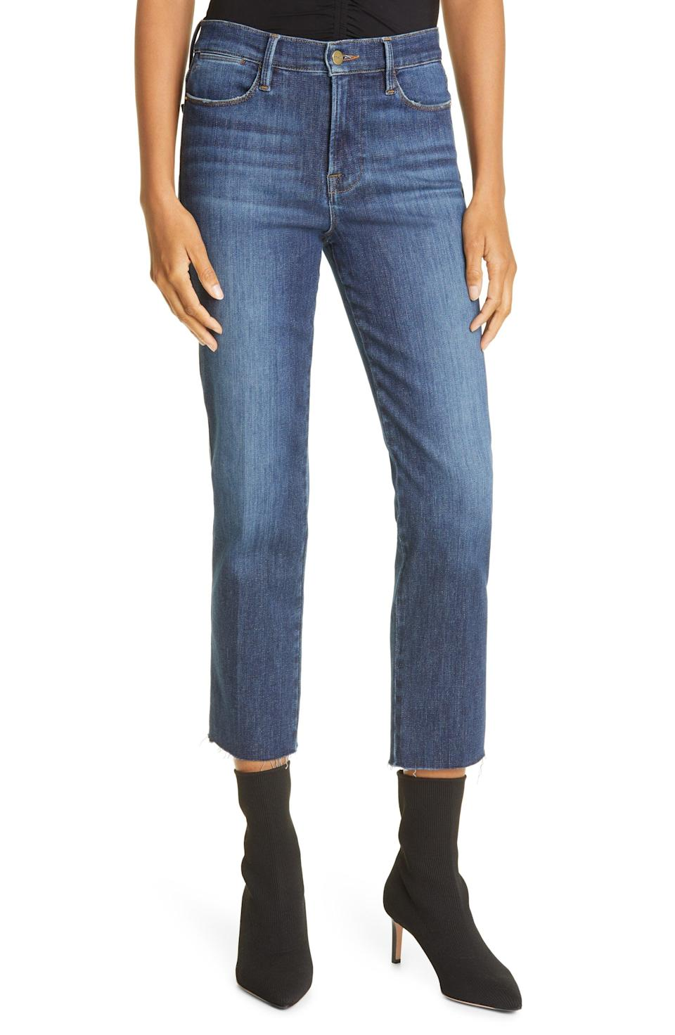 """<p><strong>FRAME</strong></p><p>nordstrom.com</p><p><a href=""""https://go.redirectingat.com?id=74968X1596630&url=https%3A%2F%2Fwww.nordstrom.com%2Fs%2Fframe-le-high-raw-hem-ankle-straight-leg-jeans-allesandro%2F5918663&sref=https%3A%2F%2Fwww.harpersbazaar.com%2Ffashion%2Ftrends%2Fg36946278%2Fnordstrom-anniversary-sale-fashion%2F"""" rel=""""nofollow noopener"""" target=""""_blank"""" data-ylk=""""slk:Shop Now"""" class=""""link rapid-noclick-resp"""">Shop Now</a></p><p><strong>Sale: $146</strong></p><p><strong>After Sale: $218</strong></p><p>The wash, rise, leg <em>and </em>raw bottom hem of these Frame jeans are all chef's kiss. </p>"""