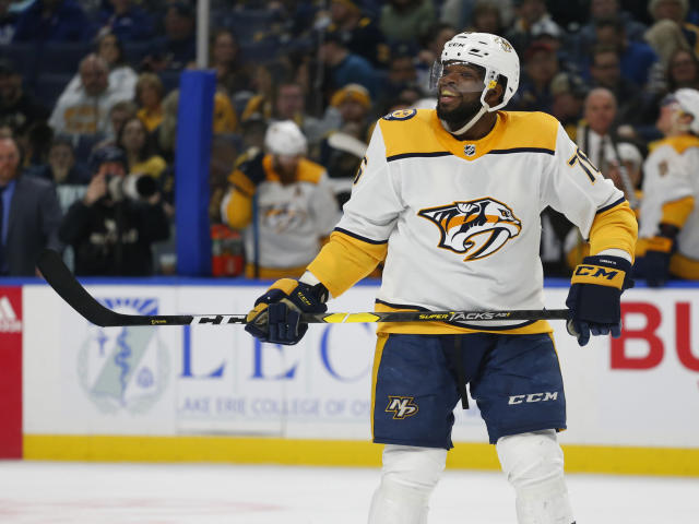 Nashville Predators defenseman P.K. Subban (76) celebrates his goal during the second period of an NHL hockey game against the Buffalo Sabres Tuesday, April 2, 2019, in Buffalo, N.Y. (AP Photo/Jeffrey T. Barnes)