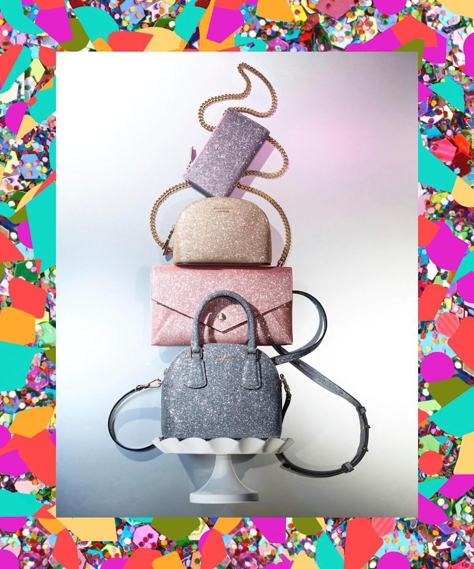"This family of glittery Kate Spade purses is the icing on the cake to any outfit. <br> <br> <strong>kate spade new york</strong> Burgess Court Chain Clutch, $, available at <a href=""https://www.macys.com/shop/product/kate-spade-new-york-burgess-court-chain-clutch?ID=10224090"" rel=""nofollow noopener"" target=""_blank"" data-ylk=""slk:Macy's"" class=""link rapid-noclick-resp"">Macy's</a> <br> <br> <strong>kate spade new york</strong> Burgess Court Slim Bifold Wallet, $, available at <a href=""https://www.macys.com/shop/product/kate-spade-new-york-burgess-court-slim-bifold-wallet?ID=10224114"" rel=""nofollow noopener"" target=""_blank"" data-ylk=""slk:Macy's"" class=""link rapid-noclick-resp"">Macy's</a> <br> <br> <strong>kate spade new york</strong> Mini Sylvia Glitter Crossbody, $, available at <a href=""https://www.macys.com/shop/product/kate-spade-new-york-mini-sylvia-glitter-crossbody?ID=10224144"" rel=""nofollow noopener"" target=""_blank"" data-ylk=""slk:Macy's"" class=""link rapid-noclick-resp"">Macy's</a> <br> <br> <strong>kate spade new york</strong> Burgess Court Dome Cosmetic Case, $, available at <a href=""https://www.macys.com/shop/product/kate-spade-new-york-burgess-court-dome-cosmetic-case?ID=10224102"" rel=""nofollow noopener"" target=""_blank"" data-ylk=""slk:Macy's"" class=""link rapid-noclick-resp"">Macy's</a>"