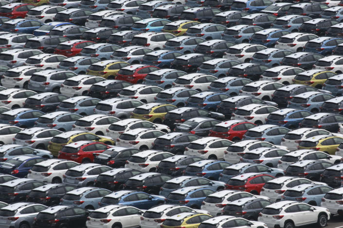 Subaru cars are parked to wait for export at Kawasaki port, near Tokyo, on Sept. 7, 2021. Japan's exports rose 26% in August from a year earlier, preliminary data released Thursday, Sept. 16, 2021 showed, below analysts' forecasts, as supply chain disruptions hit manufacturers. (AP Photo/Koji Sasahara)