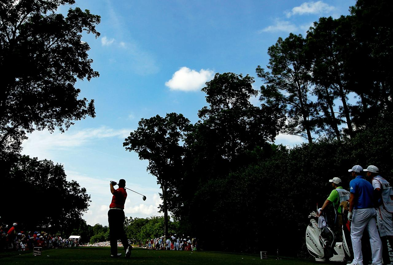 CHARLOTTE, NC - MAY 06:  D.A. Points of the United States hits his tee shot on the 14th hole during the final round of the Wells Fargo Championship at the Quail Hollow Club on May 6, 2012 in Charlotte, North Carolina.  (Photo by Streeter Lecka/Getty Images)