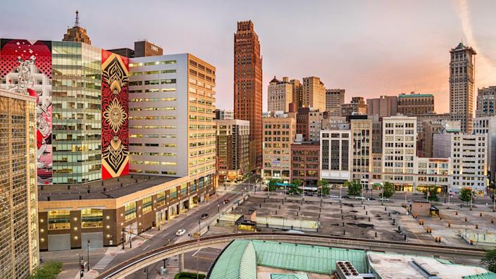 View of downtown Detroit, USA.