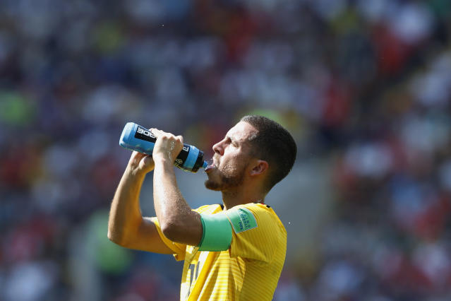 Belgium's Eden Hazard drinks during the group G match between Belgium and Tunisia at the 2018 soccer World Cup in the Spartak Stadium in Moscow, Russia, Saturday, June 23, 2018. (AP Photo/Hassan Ammar)