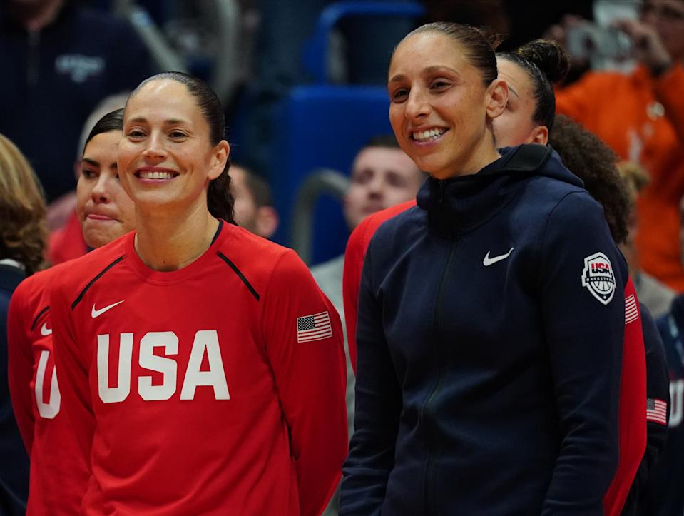 Jan 27, 2020; Hartford, Connecticut, USA; 2020 USA Womens National Team guard Sue Bird (6) (left) and 2020 USA Womens National Team guard Diana Taurasi (12) before the game against the UConn Huskies at XL Center. Mandatory Credit: David Butler II-USA TODAY Sports