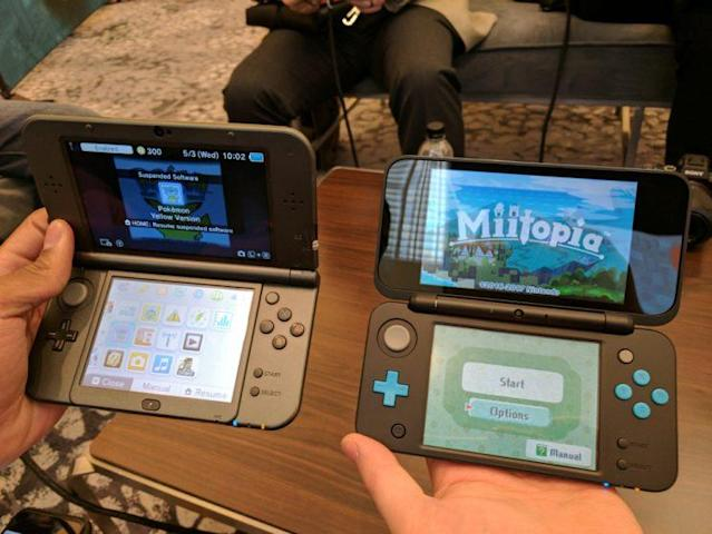 The New 3DS XL (left) next to the New 2DS XL (right).