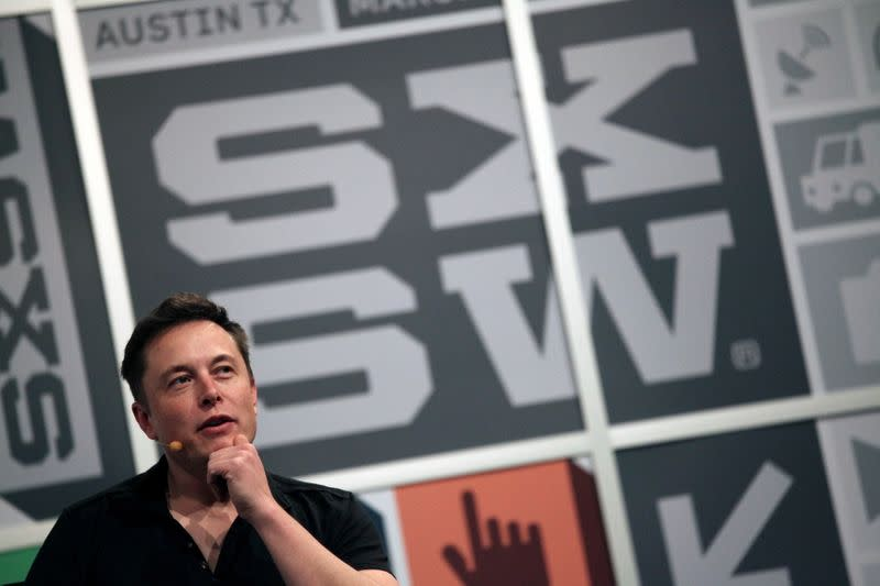 FILE PHOTO: Elon Musk, the chief executive of Tesla Motor, speaks at the South by Southwest Interactive festival in Austin