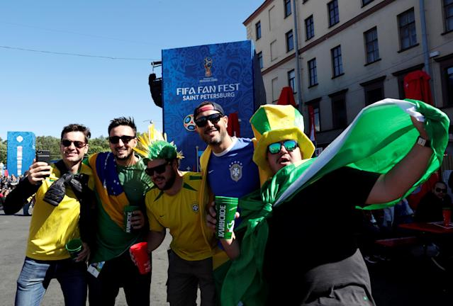Soccer Football - World Cup - Group B - Portugal vs Morocco- Saint Petersburg, Russia - June 20, 2018. Brazil's fans pose at Saint Petersburg Fan Fest. REUTERS/Henry Romero