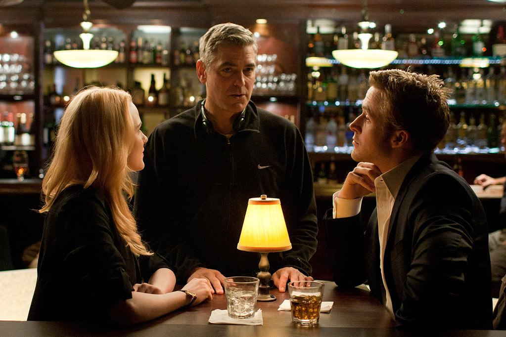 """<a href=""""http://movies.yahoo.com/movie/contributor/1800021285"""">Evan Rachel Wood</a>, <a href=""""http://movies.yahoo.com/movie/contributor/1800019715"""">George Clooney</a> and <a href=""""http://movies.yahoo.com/movie/contributor/1804035474"""">Ryan Gosling</a> on the set of Columbia Pictures' <a href=""""http://movies.yahoo.com/movie/1810155680/info"""">The Ides of March</a> - 2011"""