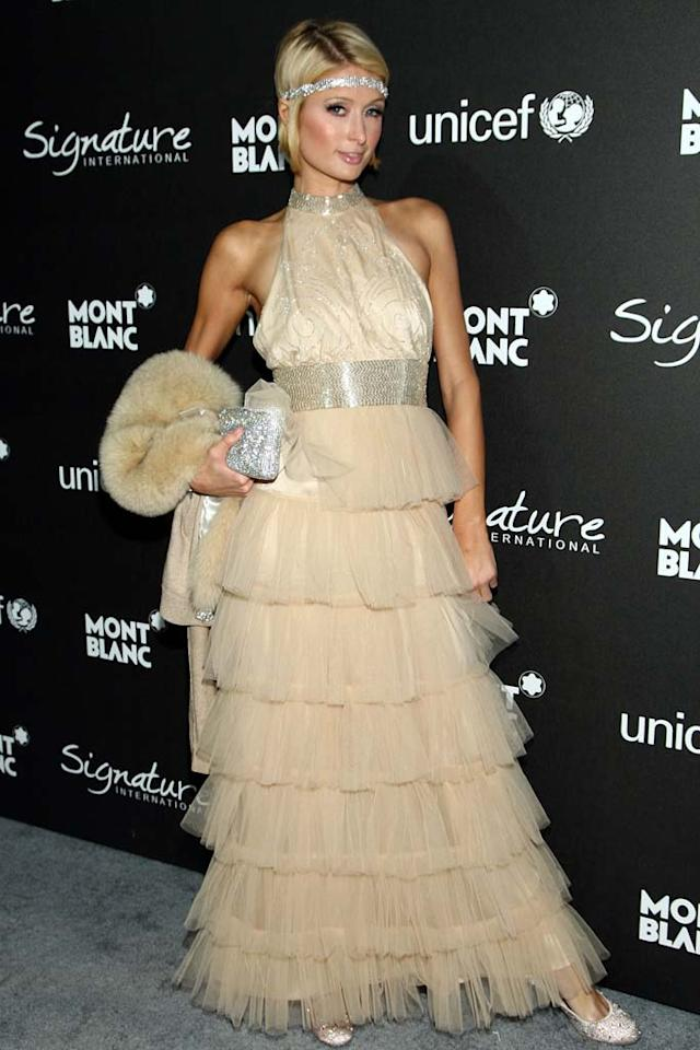 """Paris Hilton instantly topped our """"worst dressed"""" list in this tulle terror from Friday's Montblanc Gala. On Saturday, she earned both the Worst Actress and Worst Supporting Actress awards for her roles in """"Hottie & the Nottie"""" and """"Repo: The Genetic Opera"""" at the Razzies, the annual awards show honoring the worst in film. Paris was not in attendance at the show. Alberto E. Rodriguez/<a href=""""http://www.gettyimages.com/"""" target=""""new"""">GettyImages.com</a> - February 20, 2009"""