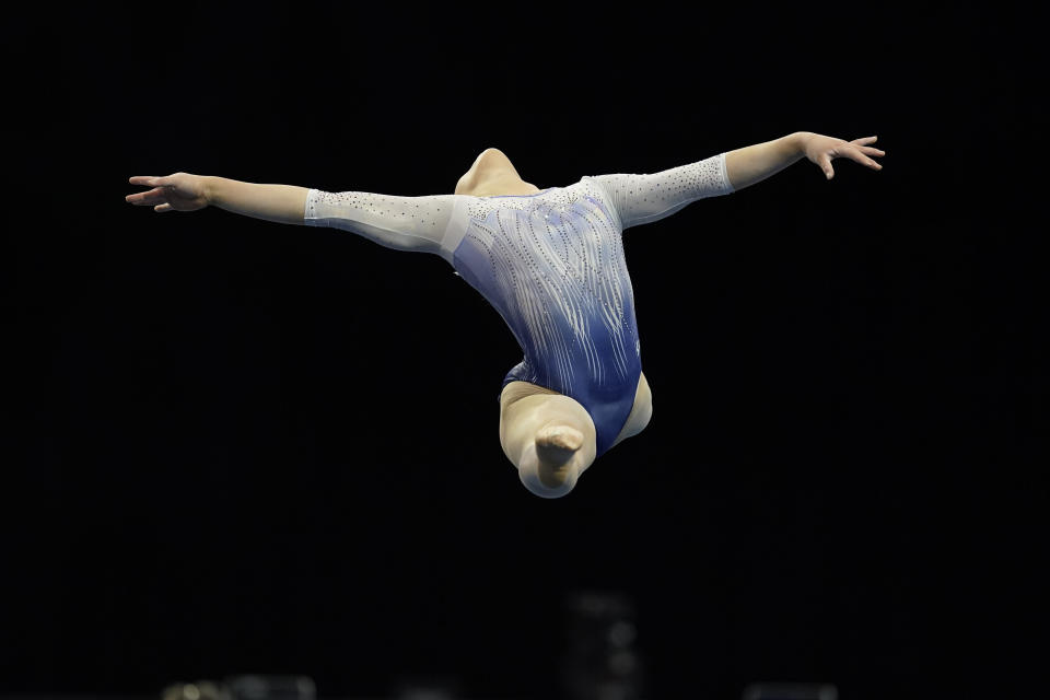 FILE - Emily Lee performs in the floor exercise during the Winter Cup gymnastics competition in Indianapolis, in this Saturday, Feb. 27, 2021, file photo. Lee is among the 18 women competing at the 2021 U.S. Olympic Trials in St. Louis starting on Friday night, June 25.(AP Photo/Darron Cummings, File)