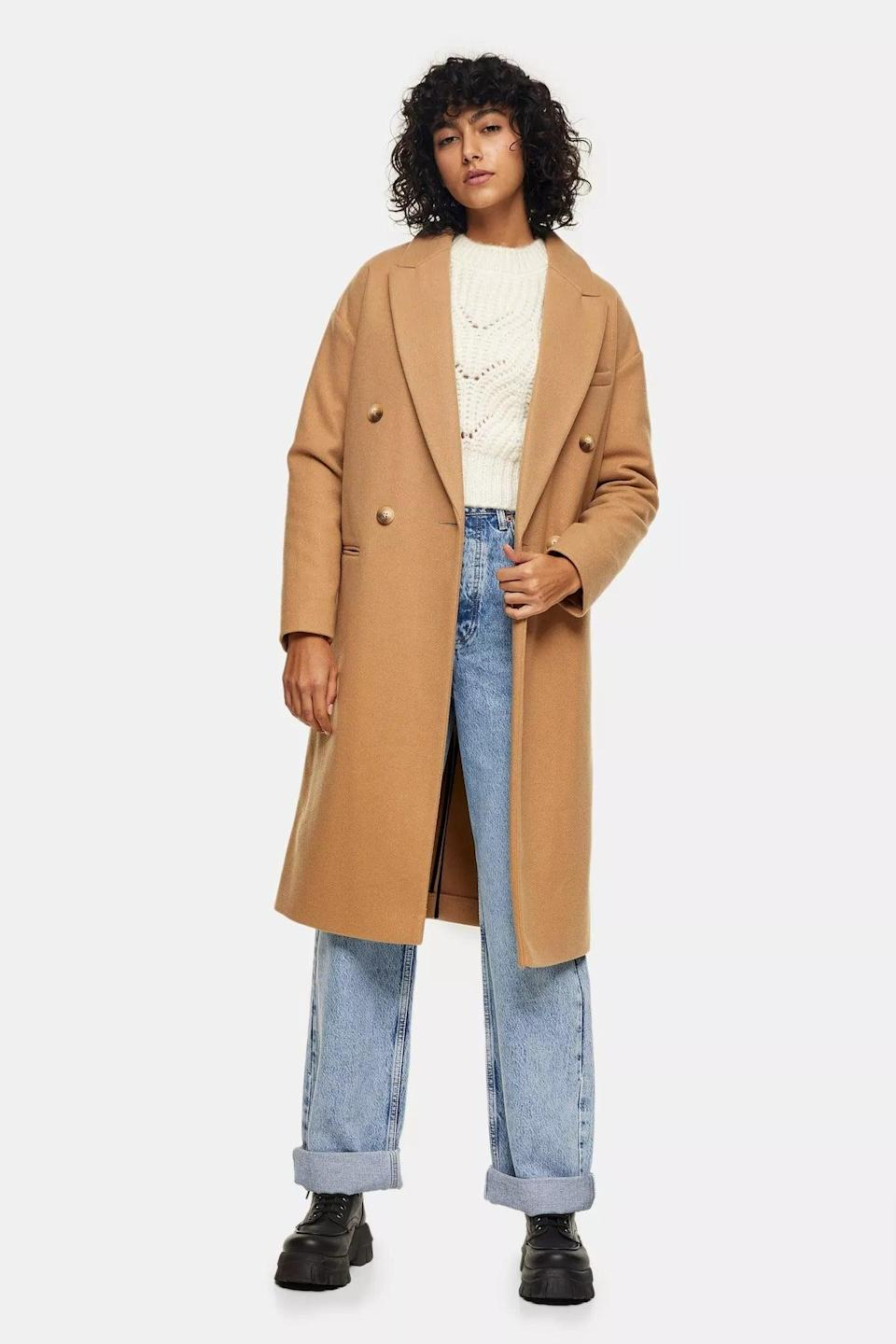 """<br><br><strong>Topshop</strong> Camel Classic Double Breasted Coat, $, available at <a href=""""https://www.topshop.com/en/tsuk/product/clothing-427/jackets-coats-2390889/camel-classic-double-breasted-coat-10086691"""" rel=""""nofollow noopener"""" target=""""_blank"""" data-ylk=""""slk:Topshop"""" class=""""link rapid-noclick-resp"""">Topshop</a>"""
