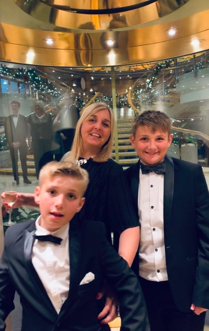 "Lorna Caley-Liddle with sons Harry and Charlie at Christmas. She says: ""Things were looking up and we hoped we were looking forward to a better year"" (Lorna Caley-Liddle)"