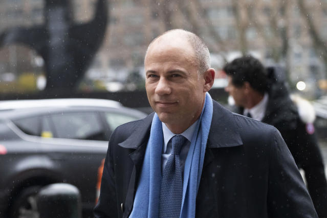 FILE - In this Dec. 17, 2019, file photo, California attorney Michael Avenatti arrives at federal court in New York. A California businessman who enlisted Avenatti to help his friend deal with two corrupt Nike executives testified Monday, Feb. 3, 2020, that he reacted with shock and horror when he learned the attorney was threatening to go public with his information. (AP Photo/Mark Lennihan, File)