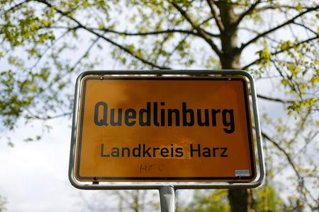 A city sign is pictured on a street in Quedlinburg, Germany, May 4, 2019. Picture taken  May 4, 2019.    REUTERS/Fabrizio Bensch