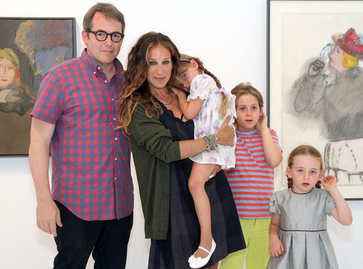 Matthew Broderick, Sarah Jessica Parker, Tabitha Broderick, James Wilkie Broderick and Loretta Broderick attend Patricia Broderick - Richard Baker's opening at Ille Arts