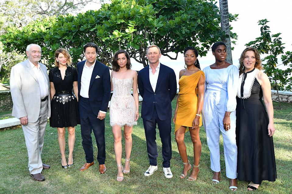 Producers Michael G Wilson and Barbara Broccoli, director Cary Joji Fukunaga and cast members launch 'Bond 25' in Jamaica. (Photo by Slaven Vlasic/Getty Images for Metro Goldwyn Mayer Pictures)