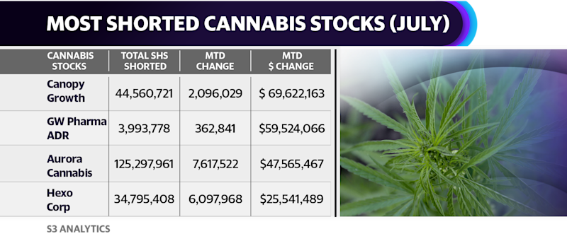 Canopy Growth saw short sellers pile on bets against the company in July. The $69 million worth of Canopy shares added to short positions in July was the largest for any cannabis company over the past month.