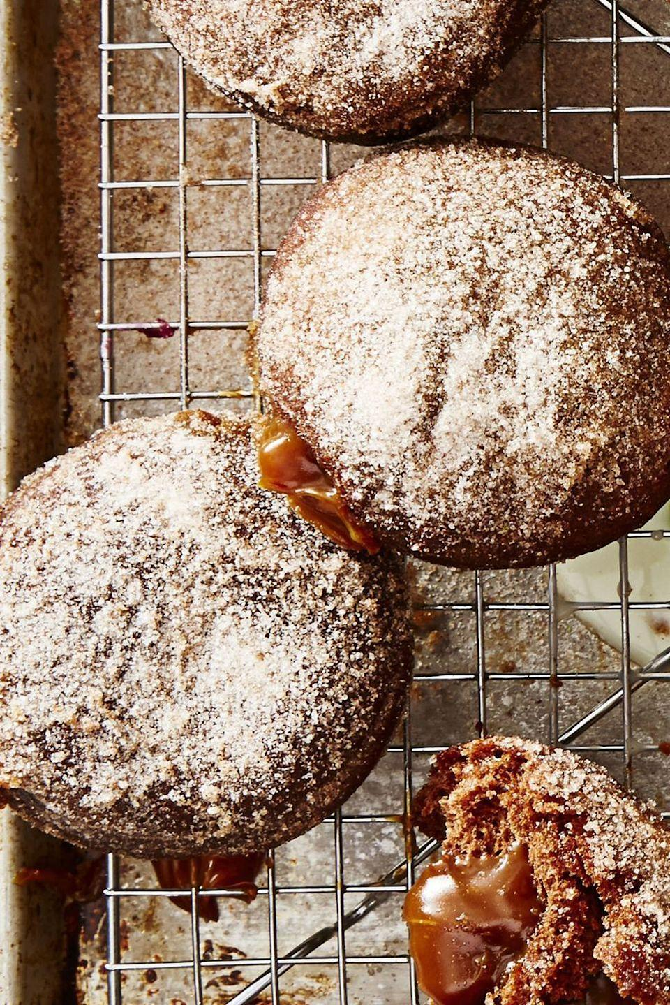 """<p>Dulce de Leche, A.K.A. a creamy Spanish caramel sauce, is the perfect filling for cinnamon-chocolate cookies.</p><p><em><a href=""""https://www.goodhousekeeping.com/food-recipes/a48181/choco-churro-donuts-with-dulce-de-leche-recipe/"""" rel=""""nofollow noopener"""" target=""""_blank"""" data-ylk=""""slk:Get the recipe for Choco-Churros with Dulce de Leche »"""" class=""""link rapid-noclick-resp"""">Get the recipe for Choco-Churros with Dulce de Leche »</a></em></p>"""