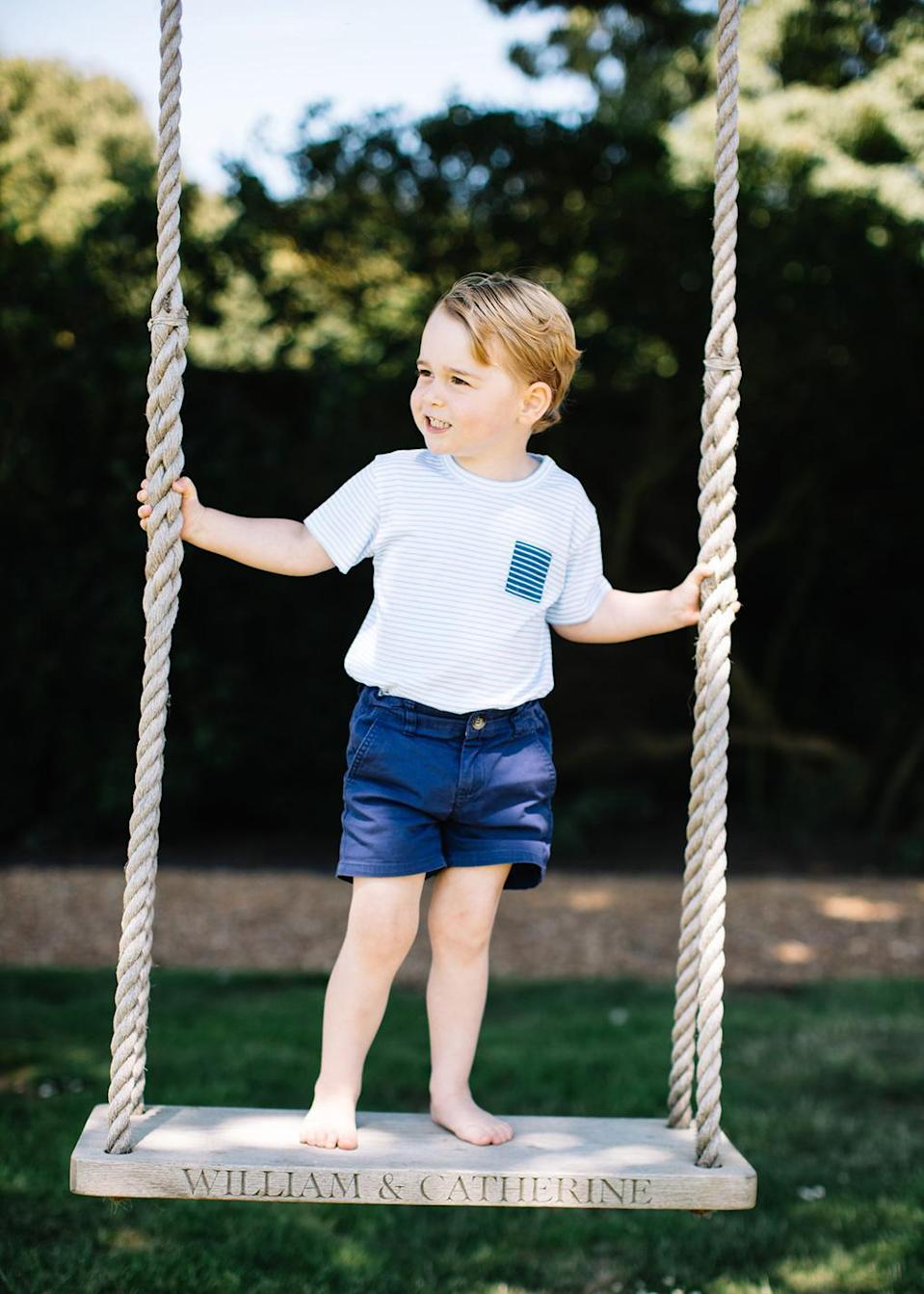 <p>They also released a more casual image of Prince George in a striped shirt and denim shorts. [Photo: Kensington Palace] </p>