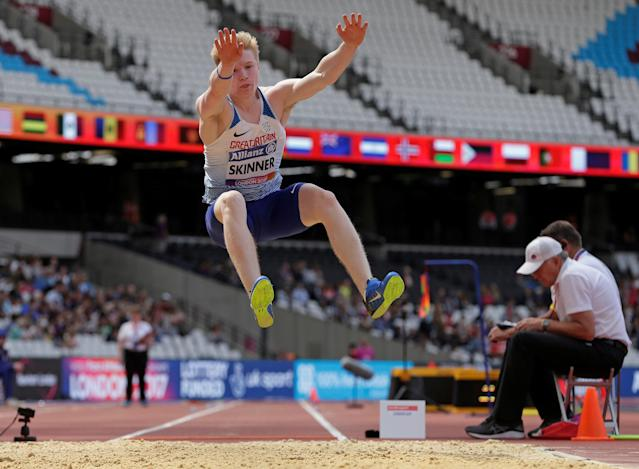 Zak Skinner of Great Britain in action during the men's long jump T13 final in London in 2017