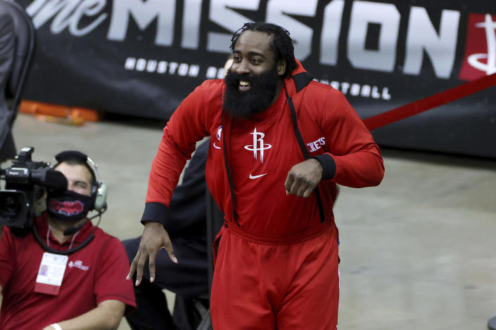 Houston Rockets' James Harden reacts during the fourth quarter of an NBA basketball game against the San Antonio Spurs in Houston, Thursday, Dec. 17, 2020. (Carmen Mandato/Pool Photo via AP)
