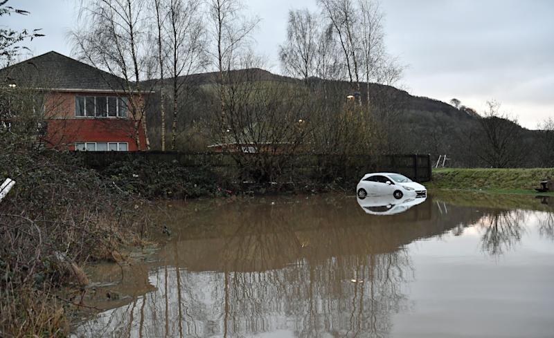 A car washed-away during flooding in Nantgarw, in south Wales, where residents are returning to their homes to survey and repair the damage in the aftermath of Storm Dennis. (Photo by Ben Birchall/PA Images via Getty Images)