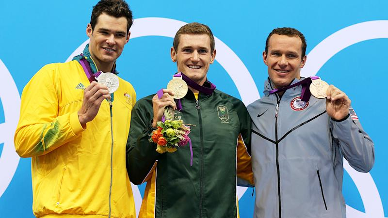 Christian Sprenger, Cameron van der Burgh and Brendan Hansen, pictured here after the 100m Breastsroke final at the 2012 Olympics.