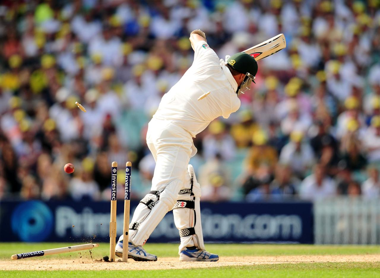 Australia's Ryan Harris is clean bowled by England's Stuart Broad during day five of the Fifth Investec Ashes Test match at The Kia Oval, London.