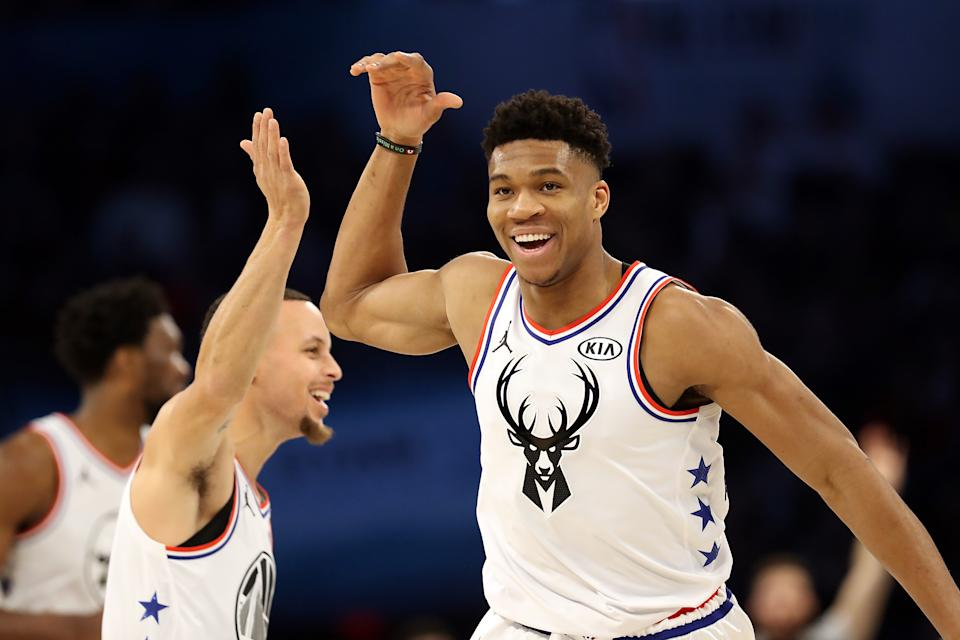 Stephen Curry and Giannis Antetokounmpo will meet for the first time in two seasons. (Streeter Lecka/Getty Images)