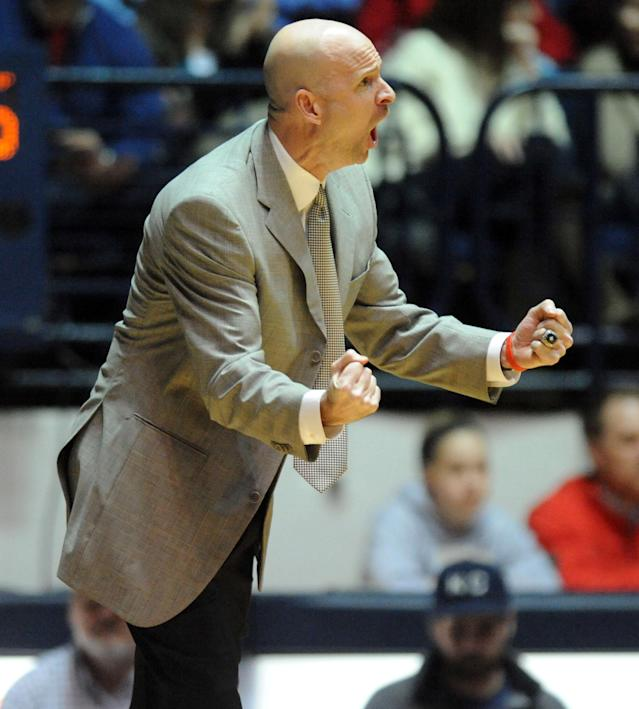 Mississippi head coach Andy Kennedy yells to his team during an NCAA college basketball game against Missouri in Oxford, Miss., on Saturday, Feb. 8, 2014. (AP Photo/The Oxford Eagle, Bruce Newman)