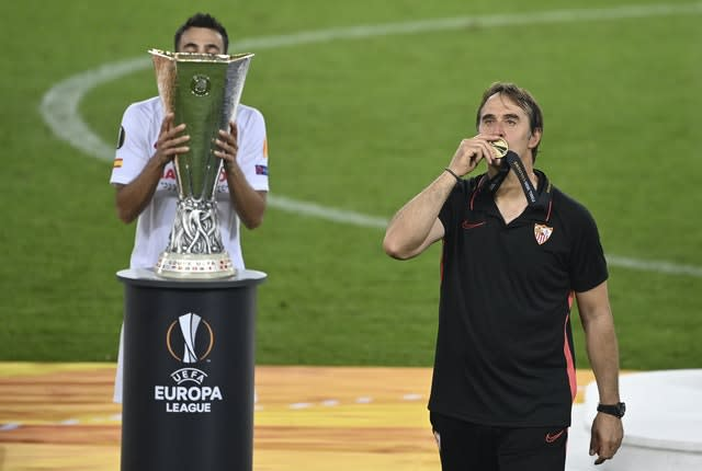 Sevilla's head coach Julen Lopetegui (right) celebrates victory