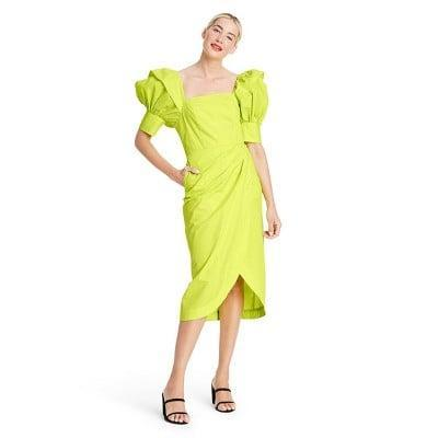 <p>This <span>Christopher John Rogers Puff Sleeve Faux Wrap Dress</span> ($55) will brighten up even your cloudiest days.</p>