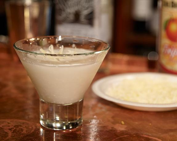 """The """"Supermoon"""" cocktail puts a twist on the classic margarita by substituting the traditional citrus mixer with cream of coconut."""