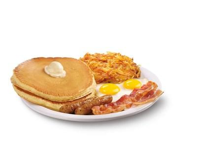 Denny's Super Slam® is made with high-quality ingredients featuring two fresh eggs, two bacon strips, two sausage links, crispy hash browns and two fluffy buttermilk pancakes.