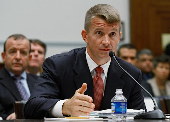 Image: Erik Prince, chairman of the Prince Group, LLC and Blackwater USA, tesifies during a House Oversight and Government Reform Committee hearing on Capitol Hill (Mark Wilson / Getty Images file)
