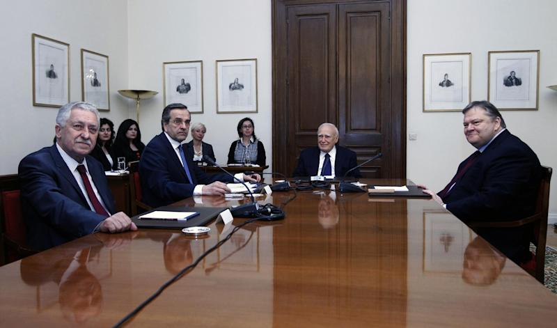From left to right. Leader of the Democratic Left party Fotis Kouvelis, leader of Conservatives New Democracy party Antonis Samaras, Greek President Karolos Papoulias and head of Socialist PASOK party Evangelos Venizelos, meet in Athens May 14, 2012. Greece's president met party leaders on Sunday in a final bid to cobble together a coalition and avert a repeat election. (AP Photo/John Kolesidis/pool)