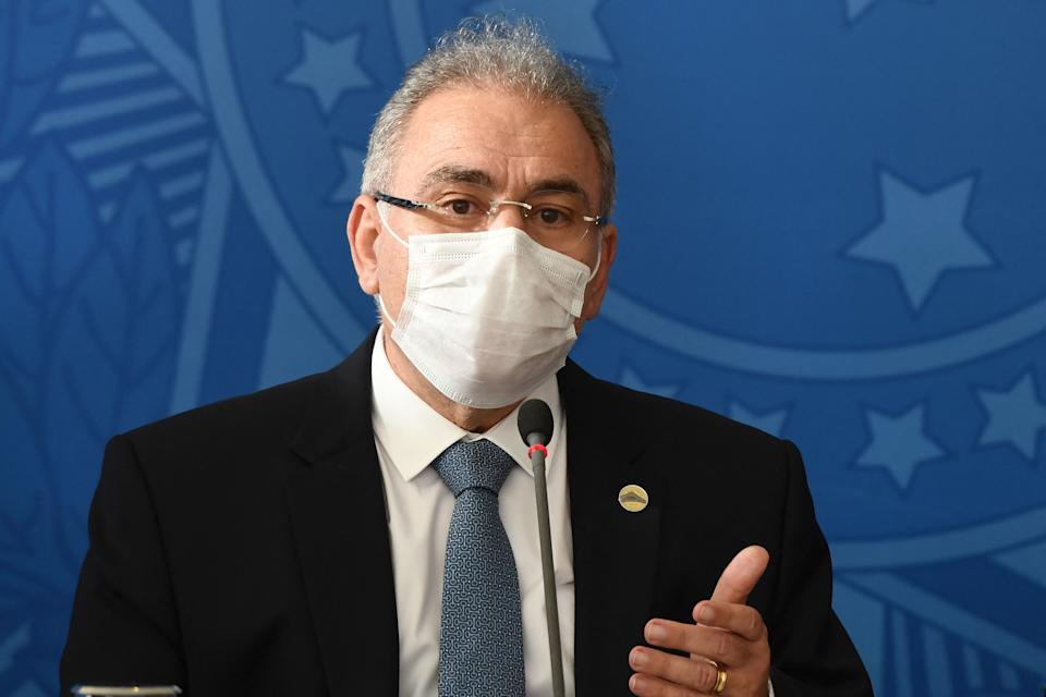 New Brazilian Health Minister Marcelo Queiroga speaks during a press conferente at Planalto Palace in Brasilia, on March 24, 2021. - Queiroga stated that President Jair Bolsonaro gave him