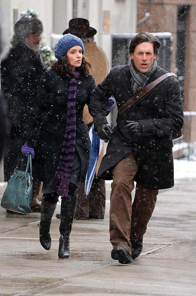 "Two other Globe winners -- one past and one present -- returned to work last week. ""Mad Men's"" Jon Hamm braved the NYC cold to shoot his guest spot on ""30 Rock"" with Tina Fey. Doug Meszler/<a href=""http://www.splashnewsonline.com"" target=""new"">Splash News</a> - January 15, 2009"