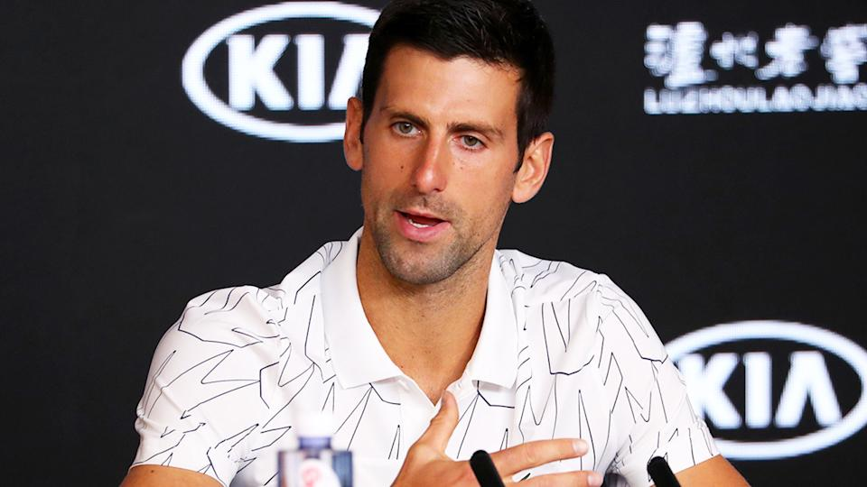 Novak Djokovic, pictured here speaking to the media at the ATP Finals.