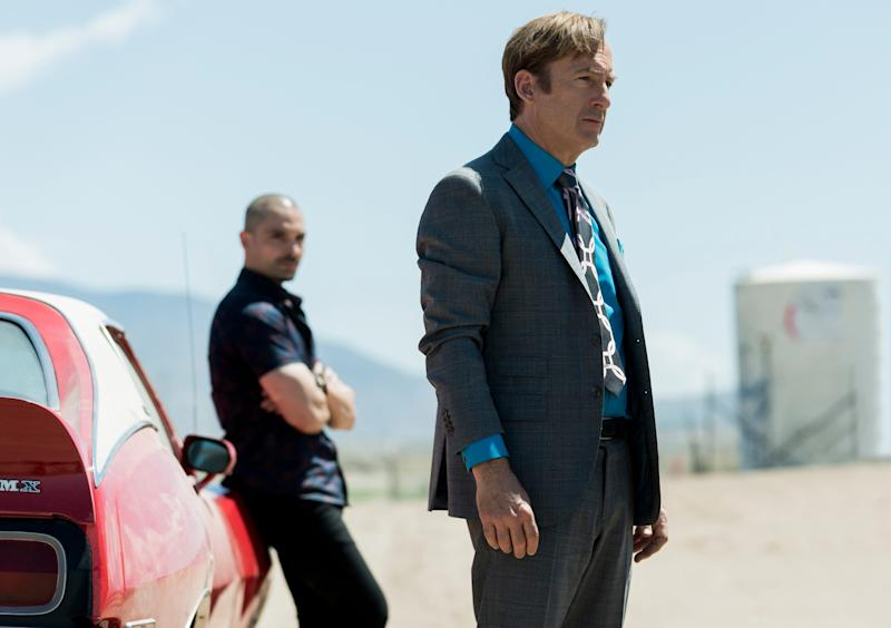 """""""Better Call Saul"""" with Bob Odenkirk as Jimmy McGill (front) and Michael Mando as Nacho Varga (background)."""