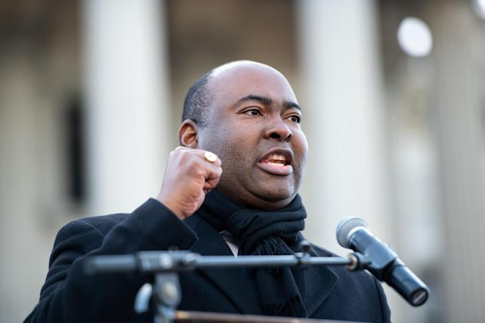 COLUMBIA, SC - JANUARY 20: U.S. senate candidate Jaime Harrison speaks to the crowd during the King Day celebration at the Dome March and rally on January 20, 2020 in Columbia, South Carolina. The event, first held in 2000 in opposition to the display of the Confederate battle flag at the statehouse, attracted more than a handful Democratic presidential candidates to the early primary state. (Photo by Sean Rayford/Getty Images)