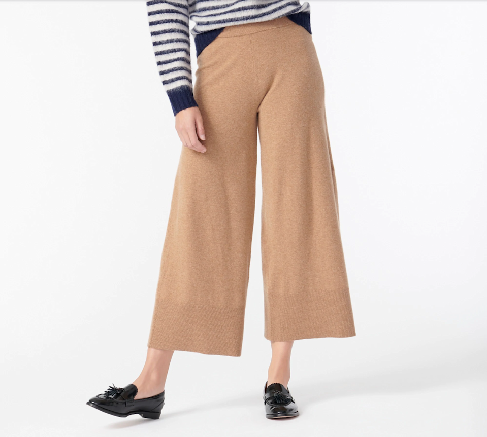 "<h2>J.Crew Wide-leg Sweatpant in Featherweight Cashmere</h2><br>A super-wide leg and a cropped hem make these extra-light cashmere trousers suited to both homebound afternoons and outdoor adventures.<br><br><strong>J.Crew</strong> Wide-leg Sweatpant in Featherweight Cashmere, $, available at <a href=""https://go.skimresources.com/?id=30283X879131&url=https%3A%2F%2Fwww.jcrew.com%2Fp%2Fwomens_category%2Fpants%2Fwideleg%2Fwideleg-sweatpant-in-featherweight-cashmere%2FAU627%3Fcolor_name%3Dhthr-acorn"" rel=""nofollow noopener"" target=""_blank"" data-ylk=""slk:J.Crew"" class=""link rapid-noclick-resp"">J.Crew</a>"