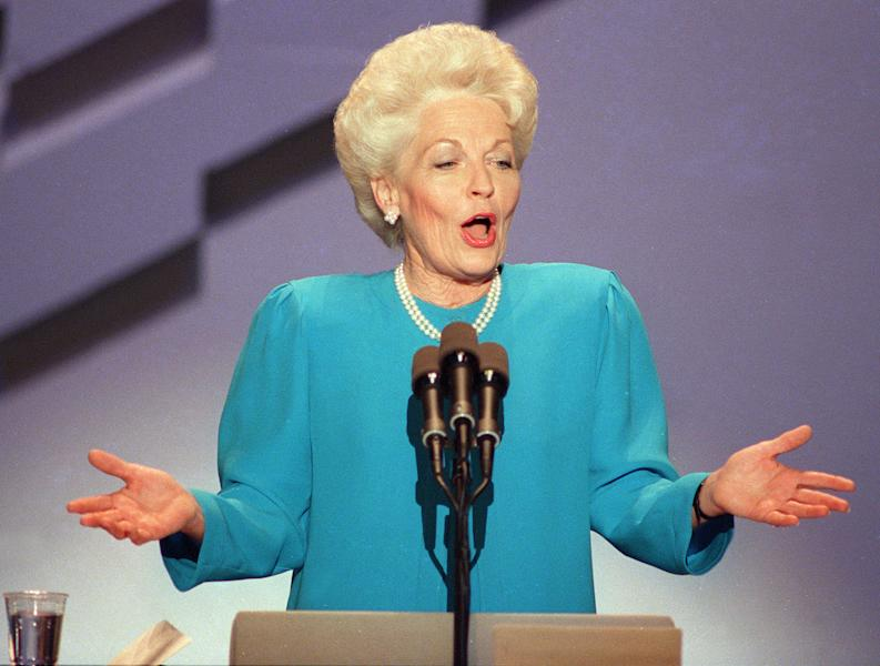 "FILE - In this July 18, 1988, file photo then-Texas state treasurer Ann Richards delivers the keynote address at the Democratic National Convention in Atlanta. Republicans heading to their 2012 party convention in Tampa are eager to hear an earful about the shortcomings of President Barack Obama's record, the woeful U.S. economy and the competing visions of the two presidential candidates. They aren't looking for compromise, which most Americans say is necessary to get the nation on track. The delegates hear rhetoric that is brutal, vitriolic and far from conciliatory. Some lines from both conventions are memorable. ""Poor George, he can't help it - he was born with a silver foot in his mouth,"" quipped Richards to laughs and applause at the DNC. Her target was well-heeled GOP candidate George H.W. Bush. (AP Photo)"